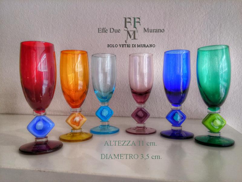 set bicchierini rombo colorato