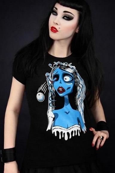 Camiseta Novia Cadáver Negra Algodón