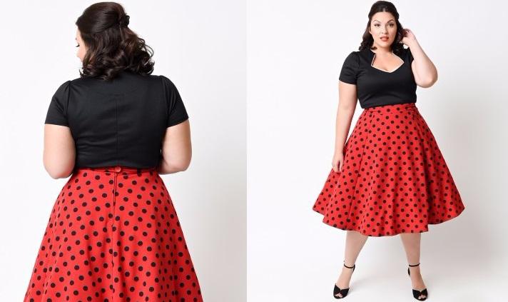 Vestido Rockabilly XL Negro/Rojo