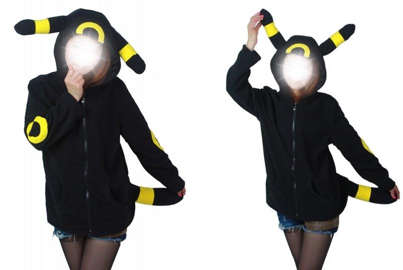 Sudadera con orejas Umbreon negro/amarillo.