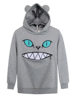 Sudadera gato gris cremallera