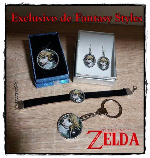 Colgante, Pendientes,Pulsera y llavero de Zelda.