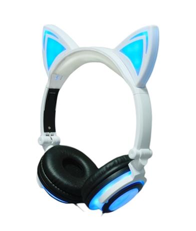 Auriculares Orejas de Gato Blancos y Azules