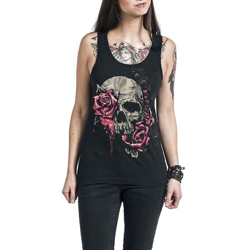 Camiseta de tirantes Skull Rose