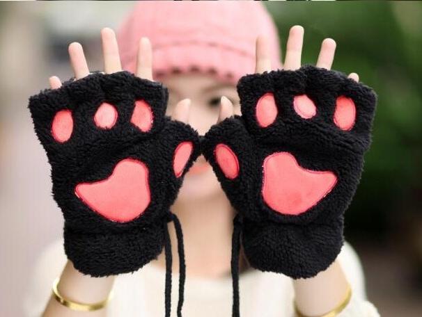 Guantes de patitas de gato negros