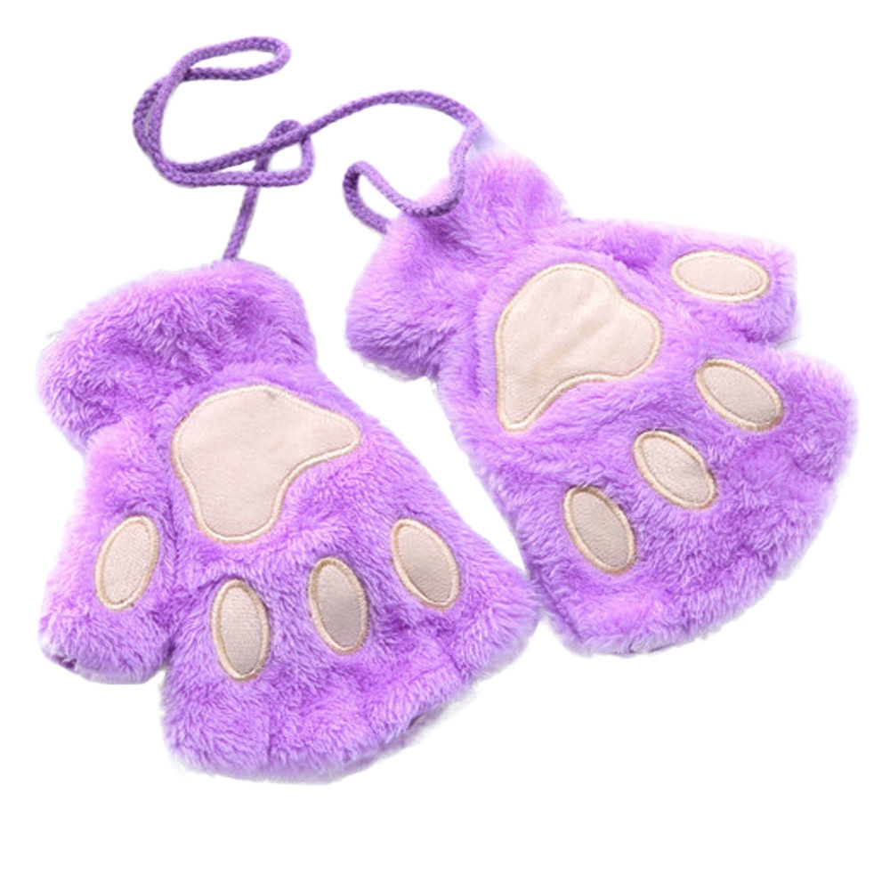 Guantes de patitas de gato lilas.
