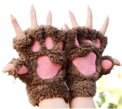 Guantes de patitas de gato marrones oscuros