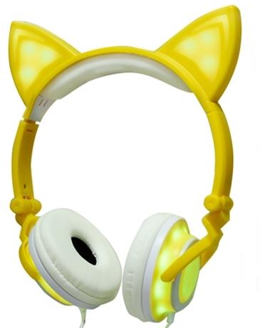 Auriculares Orejas de Gato Amarillos