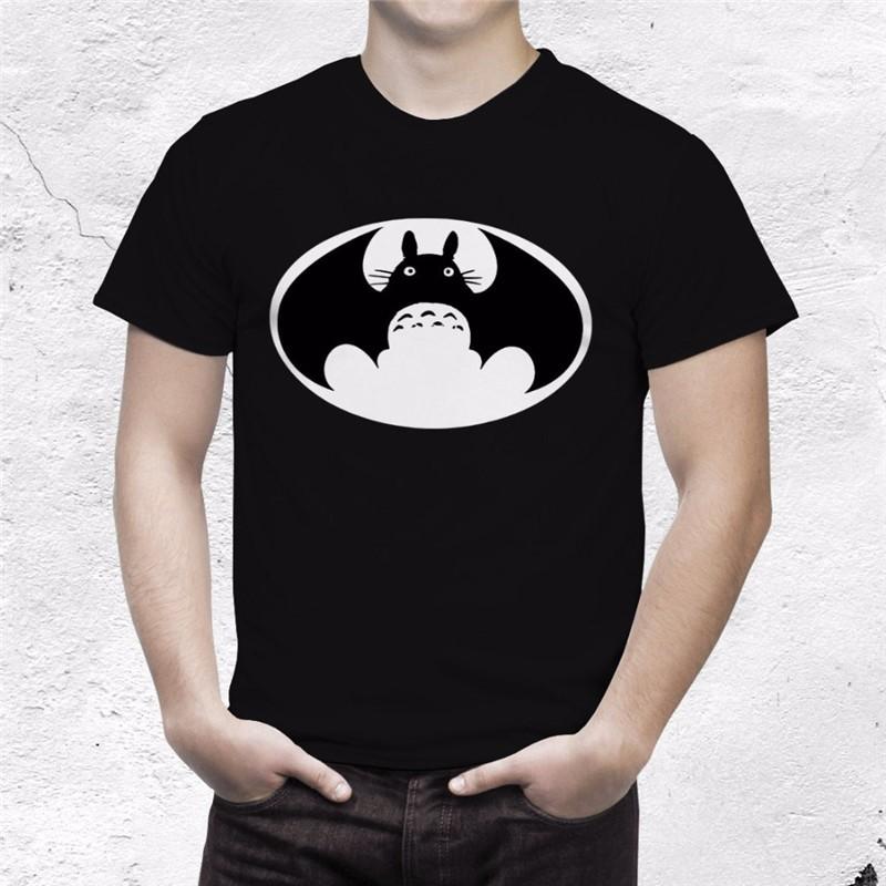 Camiseta Totoro Batman Negra Hombre