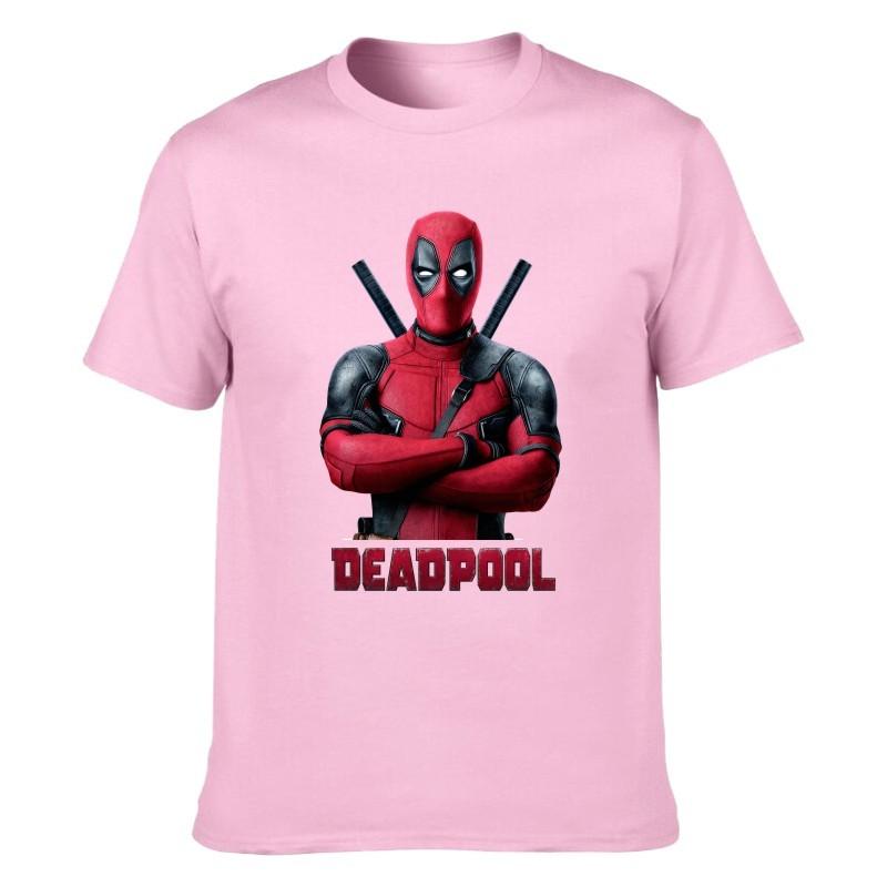 Camiseta Deadpool Rosa Claro Unisex