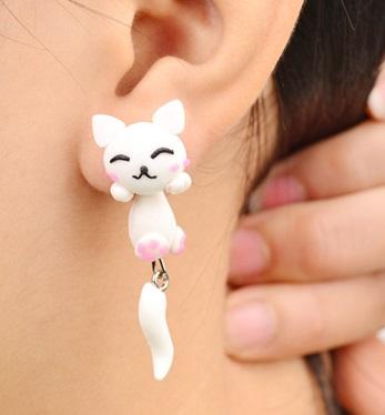Pendientes Gato blanco