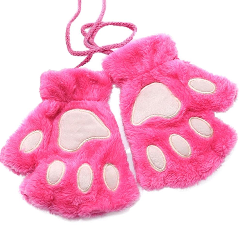 Guantes de patitas de gato rosas