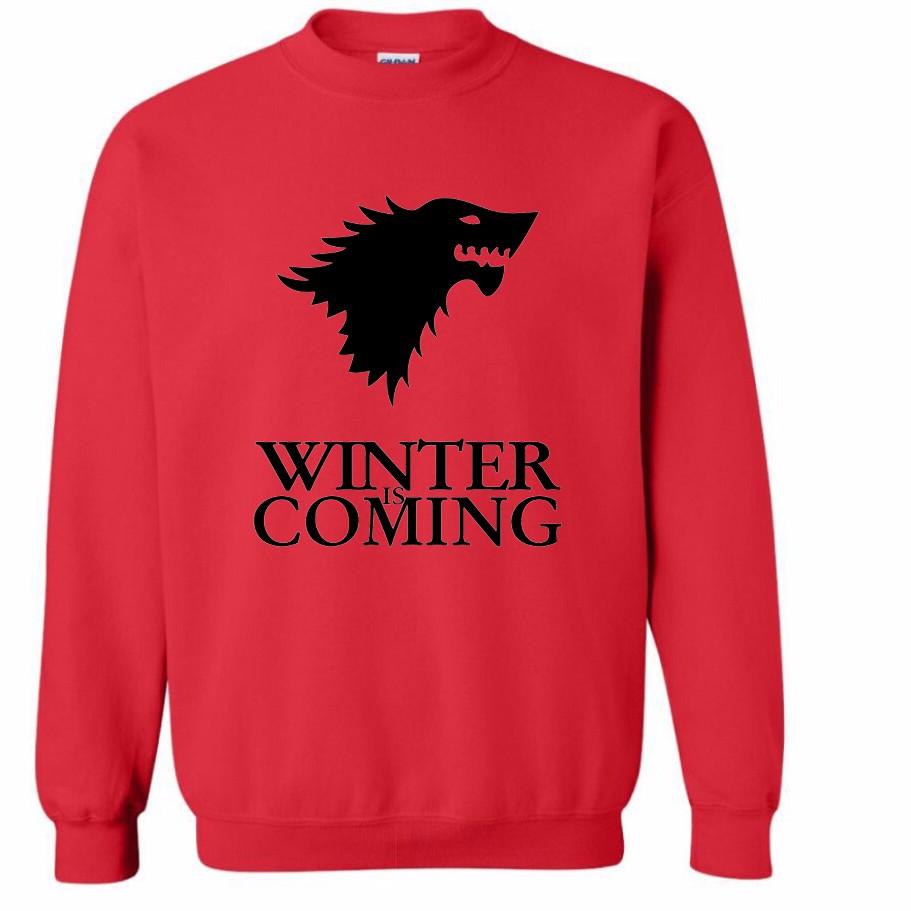 Sudadera Winter is Coming Roja (Logo negro)