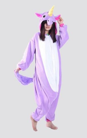 Pijama de Franela Completo Unicornio Morado