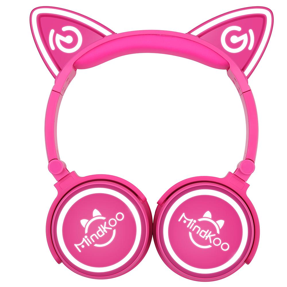 Auriculares Orejas de Gato Rosa Oscuro Inalámbricos.
