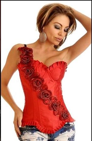 Corset Rojo Rosas