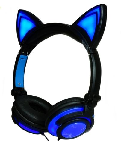 Auriculares Orejas de Gato Negros y Azules