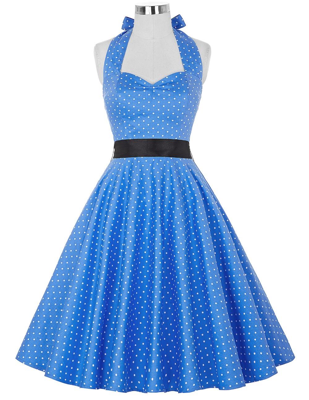 Vestido de Lunares Rockabilly azul/blanco