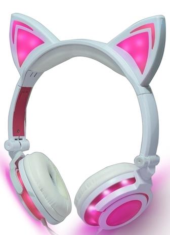 Auriculares Orejas de Gato Blancos y Rosas