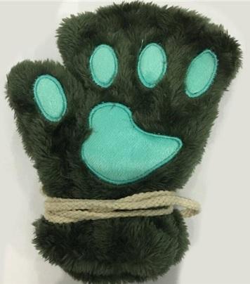 Guantes de patitas de gato verdes