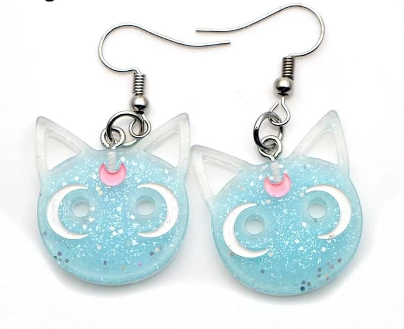 Pendientes Gatito Sailor Moon Azul