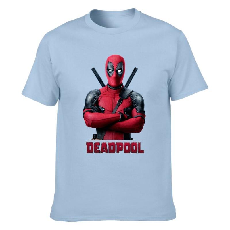 Camiseta Deadpool Azul Claro Unisex