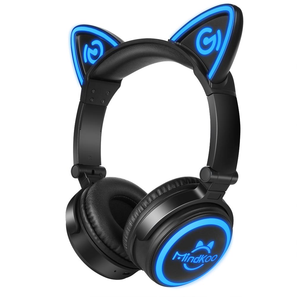 Auriculares Orejas de Gato Negro y Azul Inalámbricos.