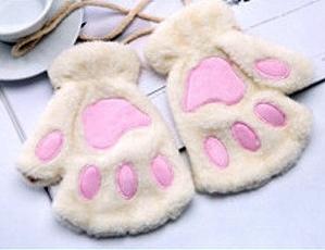 Guantes de patitas de gato blancos