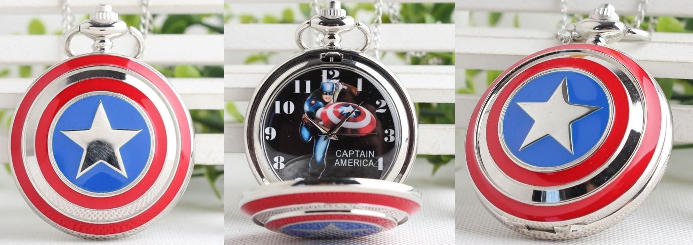 Reloj de Bolsillo Capitán América Plata