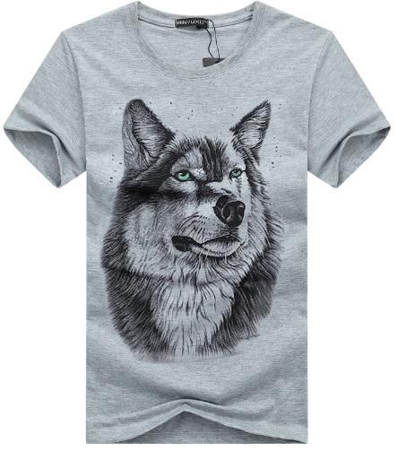 Camiseta Cabeza de Lobo Gris