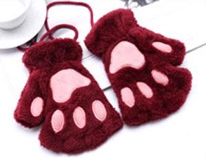 Guantes de patitas de gato rojos