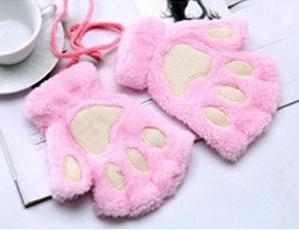 Guantes de patitas de gato rosa claro