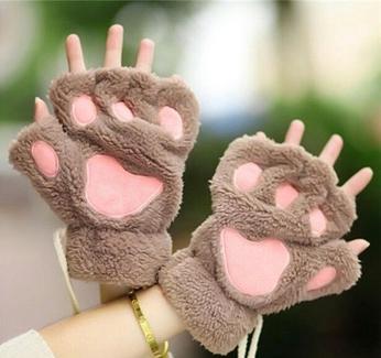 Guantes de patitas de gato marrones