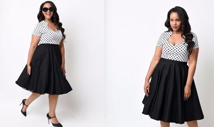 Vestido Rockabilly XL Blanco/Negro