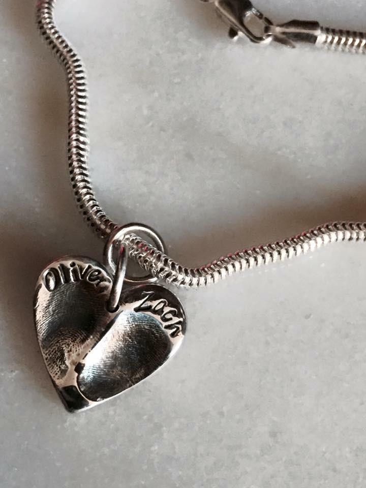 Silver fingerprint bracelet