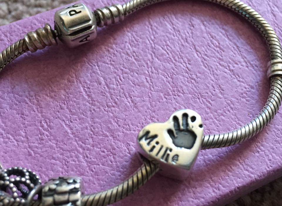 Solid silver chunky fingerprint / hand & foot print bead