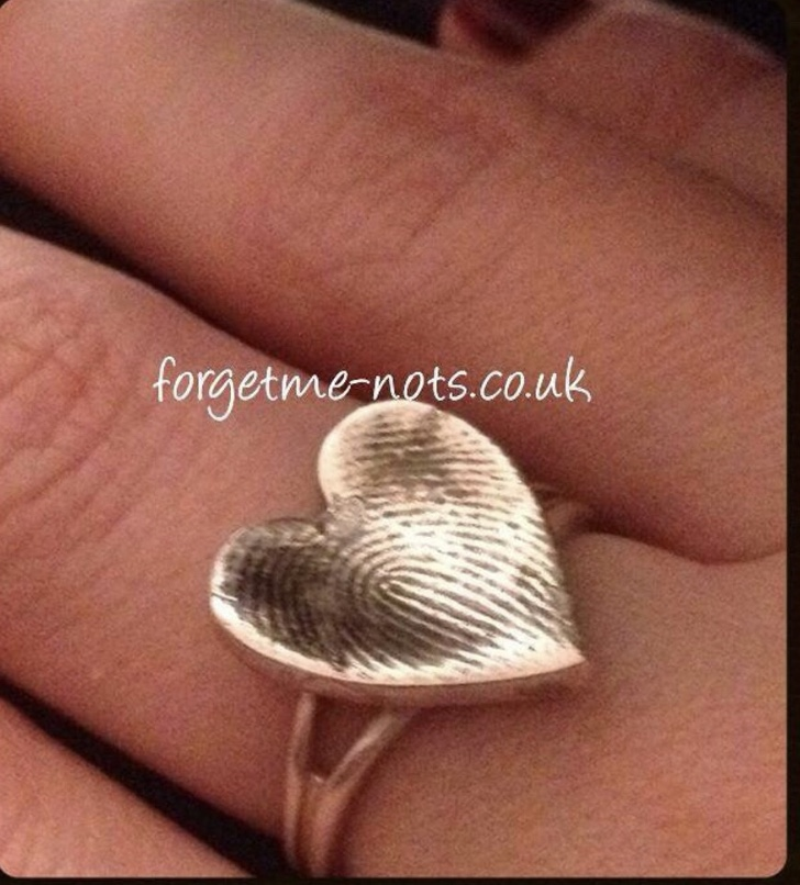 Sterling silver fingerprint, hand / foot print ring
