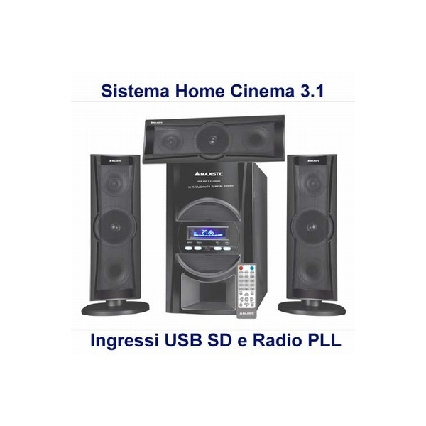 MAJESTIC SISTEMA HOME THEATRE 3.1  SUBWOOFER DA 25W + 3 SATELLITI DA 12W CON RADIO PLL FM/FM STEREO  INGRESSI USB E SD CARD e TELECOMANDO