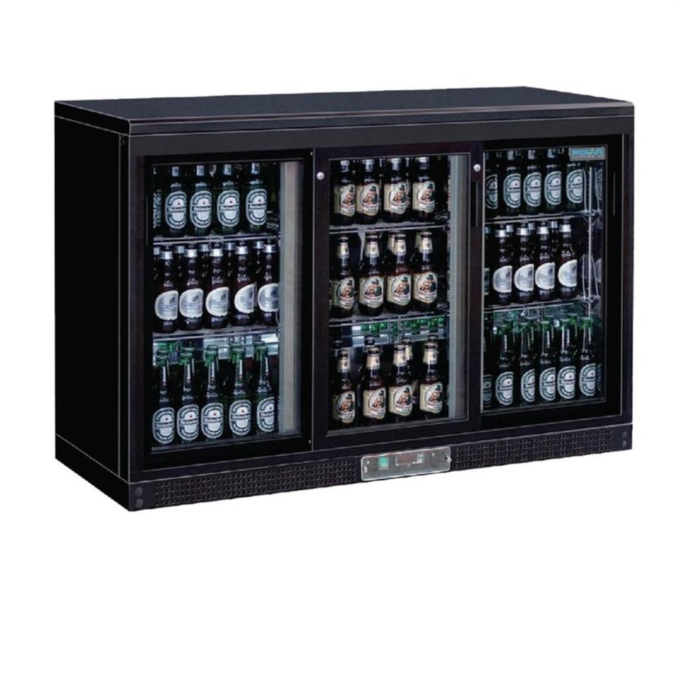 Barkühlschrank / Backbar mit 3 Türen - schwarz