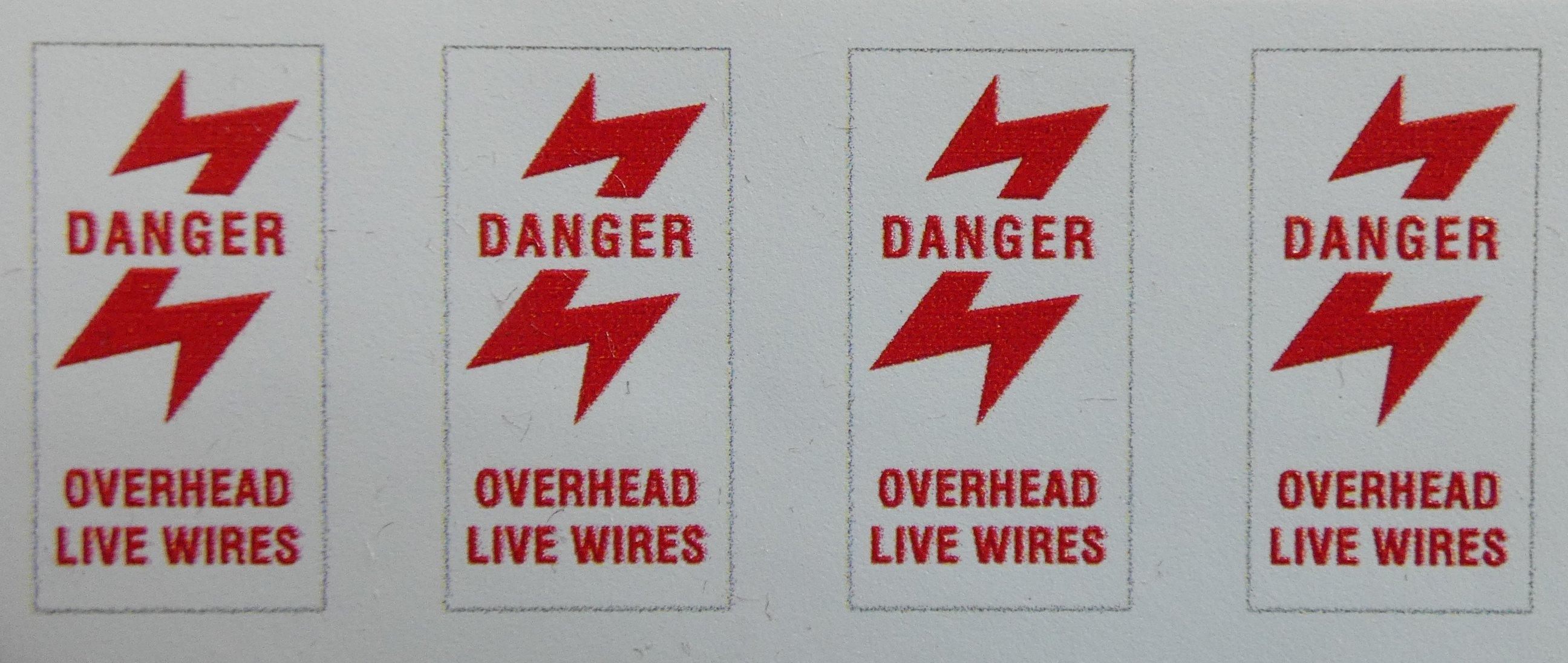 OVERHEAD LIVE WIRE WARNING DECALS 5 Inch Gauge Self Adhesive Vinyl