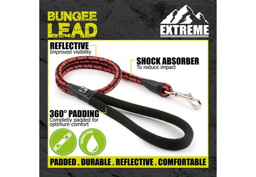 ANCOL EXTREME SHOCK ABSORB ROPE LEAD BLACK/RED