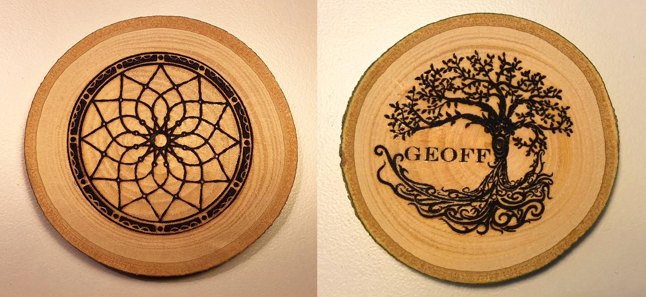 Decorative Wood Disc Image Both Sides
