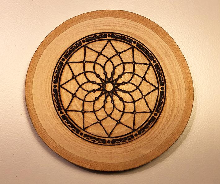 Decorative Wood Disc Image One Side