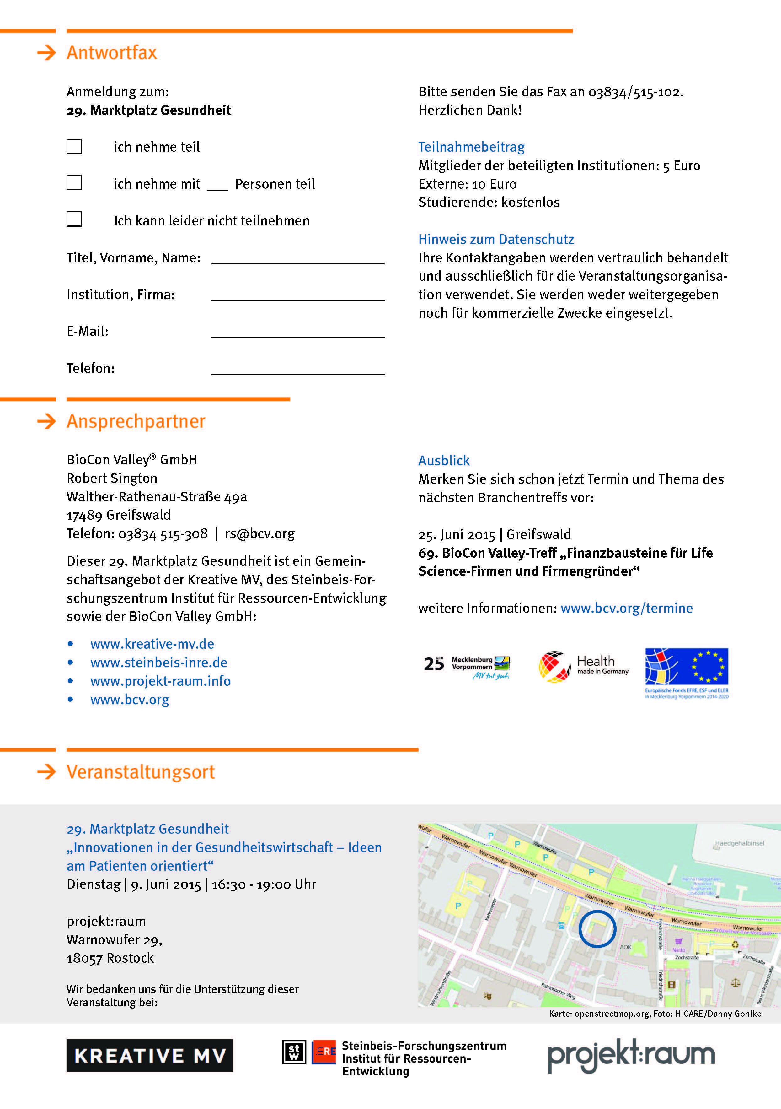 Anmeldung Marktplatz Gesundheit am 09.06.2015