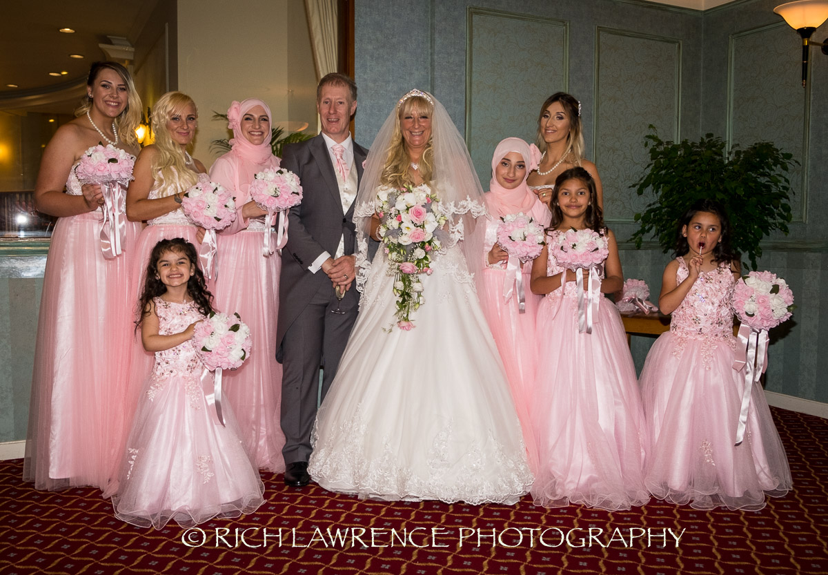 bride, groom and bridesmaids