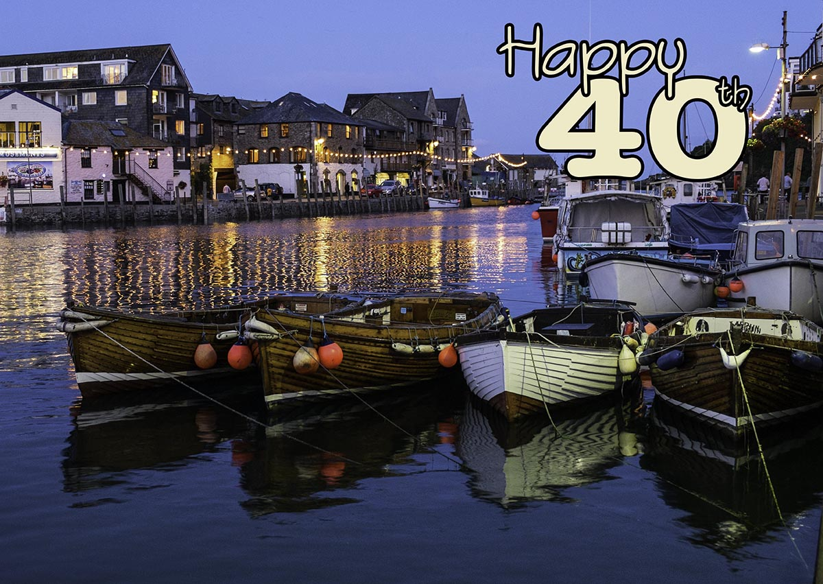 40th birthday card with boats