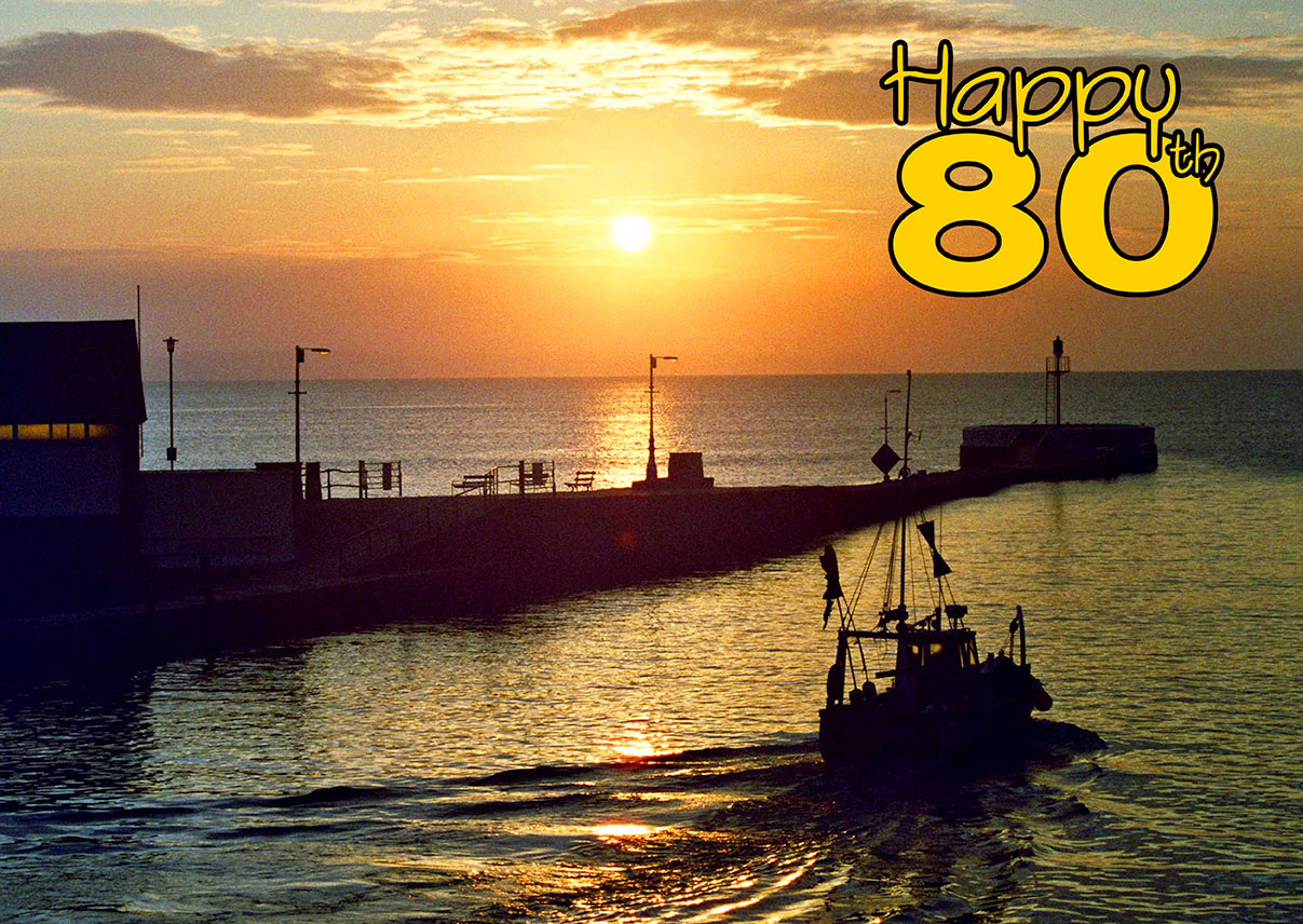 80th birthday card with boats
