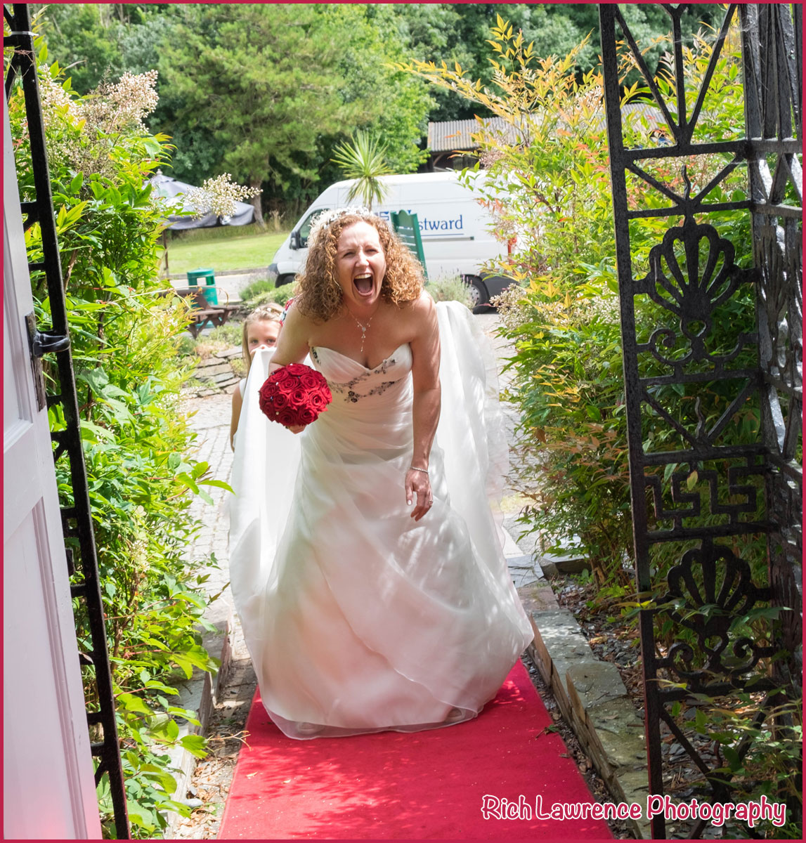 Bride arrives at the gate
