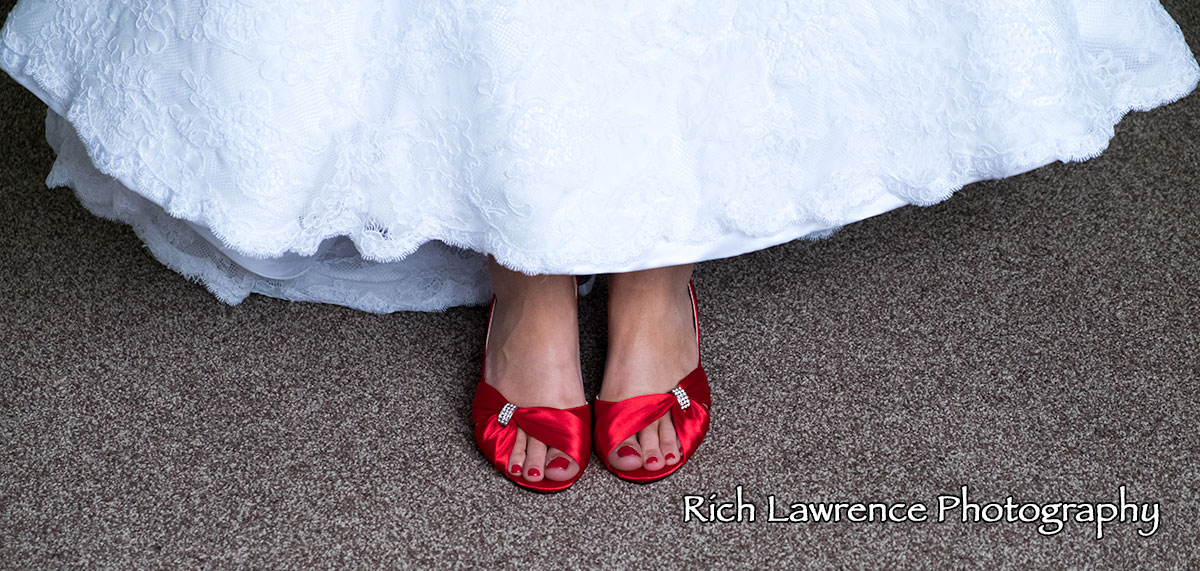 Brides new red shoes