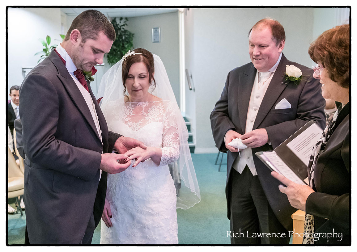Bride and groom's exchanging rings